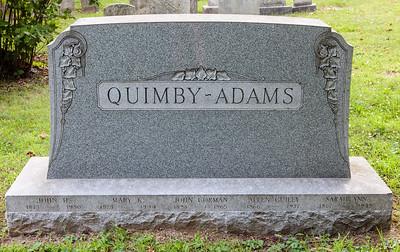 Quimby - Adams: John H., 1873 - 1950. Mary K., 1873 - 1944. John Gorman, 1894 - 1965. Allen Guiley, 1866 - 1937. Sarah Ann, 1867 - 1955.
