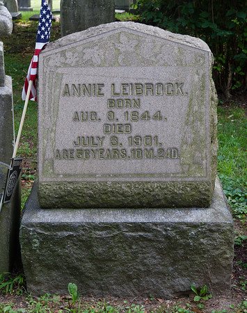 Annie Leibrock, Aug 9, 1844 - July 3, 1901.  With stone for: Joseph Leibrock, March 25, 1845 - Nov 15, 1892.