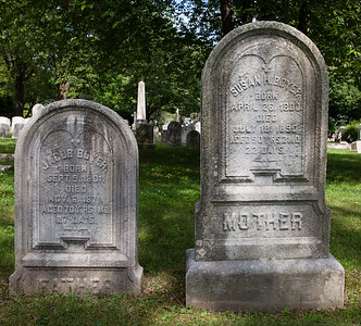 Left stone: Jacob Boyer, Sept 9, 1801 - Nov 6, 1871.  Right stone: Susanna H. (Nagle) Boyer, Apr 26, 1800 (some sources say Apr 20) - July 18, 1890.  Jacob and Susan are parents of Harriet Boyer, Sept 9, 1801 - Nov 6, 1871.