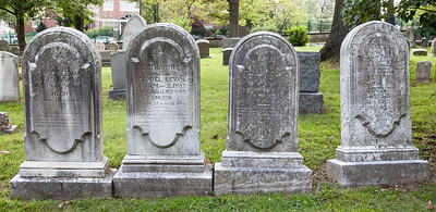 Left stone: Daniel Levan, Jan 10, 1817 - Aug 26, 1873.  2nd stone: Catharine Levan, May 2, 1817 - April 6, 1895. Wife of Daniel Levan.  3rd stone: Sallie Levan, Feb 9, 1832(?) - Jun (Jan?) 26, 1847(?), age 15 y, 5 m, 17 d.  Right stone: Sister Catharine, daughter of Caniel & Catharine Levan.....