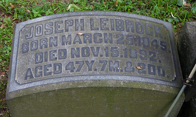 Joseph Leibrock, March 25, 1845 - Nov 15, 1892.  With stone for: Annie Leibrock, Aug 9, 1844 - July 3, 1901.