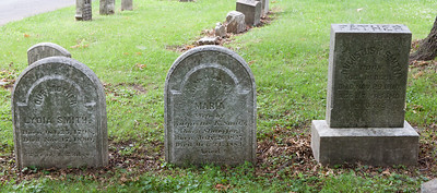 Left stone: Lydia Smith, Oct 25, 1798 - Nov 17, 1880. Lydia's stone next to and matching stone for:  George Smith, Feb 7, 1792 - Dec 30, 1870.  Middle stone: Maria (Shaeffer) Smith, July 26, 1827 - Oct 24, 1883. Wife of Augustus K. Smith.  Right stone: Augustus K. Smith, Oct 16, 1823 - Nov 29, 1910.