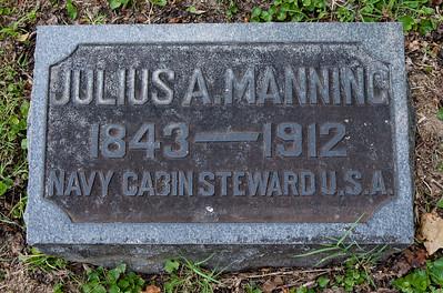 Julius A. Manning, 1843 - 1912.  Stone next to Amanda E. Manning, 1858 - 1941.
