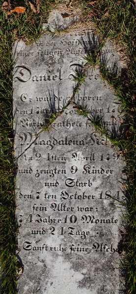 Daniel Dreibelbis, Magdalena Kieffer, 2 April 179_, 7 October, 1843, 74 years, 10 month, 24 days...
