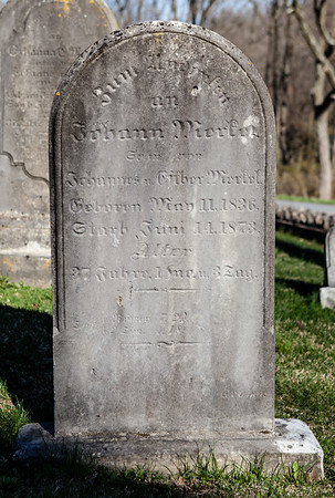 Johann 'John' Merkel, May 11, 1836 - Jun 14, 1873. Son of John Merkel and Esther Dunkel.