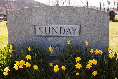 Husband: Irvin Rahn Sunday, June 12, 1873 - Jan 27, 1938. Son of Joel D. Sunday and Mary Ellen Rahn.  Wife: Ellen Missouri Seip, Oct 23, 1870 - Feb 7, 1941. Daughter of John Brobst Seip and Maria Magdalena Riegelman.  Parents of: Katie, Stella, Minnie Beulah, Mary Ellen, Elda and Mabel M. Sunday.  Daughters of Irvin Rahn Sunday and Ellen Missouri Seip, sharing this tombstone:  E. Mary Sunday (Mary Ellen), March 5, 1898 - Jan. 1981.   Stella E. Sunday, Dec 11, 1904 - Nov 14, 1996.  First born infant, Katie Sunday, 1897 - 1897.