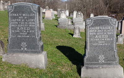 Left stone: Anna (Miller) Leiby, FEb 16, 1825 - Sep 22, 1899. Daughter of Samuel Miller and Maria Fischer.  Right stone: Jacob U. Leiby, July 10, 1822 - Sep 6, 1892. Son of Jacob Leiby and Hannah Ulrich.  Parents of Maria, Hannah, Helena A., and Lovina M. Leiby.