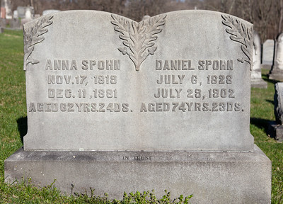 Anna (Dietrich) Spohn, Nov 17, 1819 - Dec 11, 1881. Daughter of Christian Dietrich and Elisabeth George.  Daniel Spohn, July 6, 1828 - July 29, 1902. Son of John Spohn and Maria Sitler.  Their daughter is Susanna Spohn, Dec 24, 1852 - Oct 13, 1922.