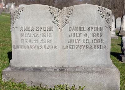 Anna (Dietrich) Spohn, Nov 17, 1819 - Dec 11, 1881. Daughter of Christian Dietrich and Elisabeth George.  Daniel Spohn, July 6, 1828 - July 29, 1902. Son of John Spohn and Maria Sitler.  Their daughter is Susanna Spohn, Dec 24, 1852 - Oct 13, 1922.
