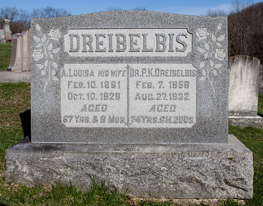 Husband: Dr. Perry K. Dreibelbis, Feb 7, 1858 - Aug 27, 1932. Son of Manasses K. Dreibelbis and Christina Klein.  Wife: Louisa (Seip) Dreibelbis, Feb 10, 1861 - Oct 10, 1928. Daughter of John Brobst Seip and Maria Magdalena Riegelman.
