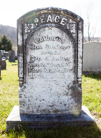 Catharina Sebold(?) Brensinger, Dec 7, 1860 - March (May?) 19, 1887.  Wife of Joel S. Buschy(?).