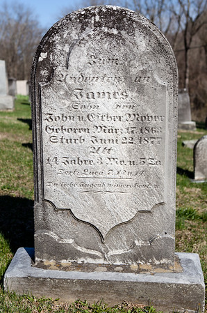 James Moyer, Mar 17, 1863 - Jun 22, 1877. Son of John Moyer and Esther Dietrich.