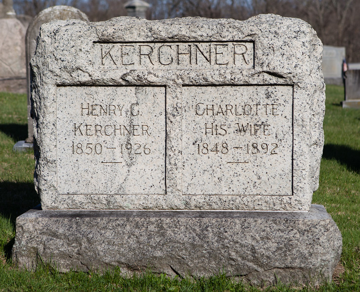 Henry G. Kerchner, Feb 22, 1850 - Mar 15, 1926. Son of Jacob Kerchner and Elisabeth George.<br /> <br /> Charlotte (Hoch) Kerchner, 1848 - 1892. Daughter of Reuben Hoch and Appolonea Dormeyer.<br /> <br /> Their son is Edward Eugene Kerchner.