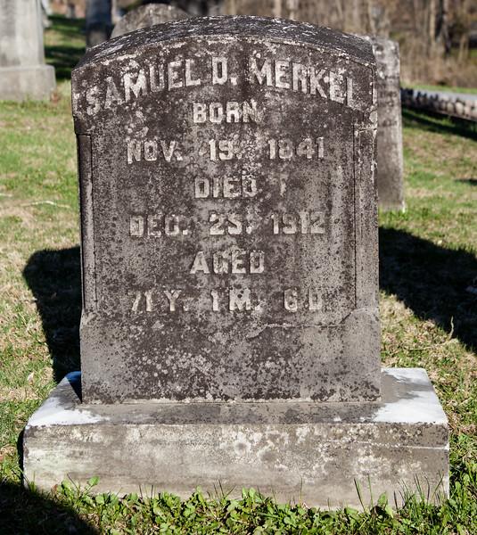 Samuel D. Merkel, Nov 19, 1841 - Dec 25, 1912. (Bergergirls.com shows death as Nov 9). Son of John Merkel and Esther Dunkel.<br /> <br /> Husband of: Amelia Dietrich, Sep 25, 1844 - Nov 21, 1923.<br /> <br /> Parents of J. Richmond Merkel, and Mrs Henry Hager Merkel.