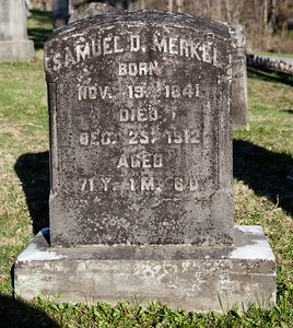Samuel D. Merkel, Nov 19, 1841 - Dec 25, 1912. (Bergergirls.com shows death as Nov 9). Son of John Merkel and Esther Dunkel.  Husband of: Amelia Dietrich, Sep 25, 1844 - Nov 21, 1923.  Parents of J. Richmond Merkel, and Mrs Henry Hager Merkel.