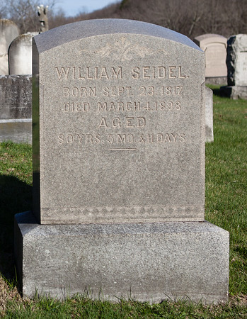 William Seidel, Sep 23, 1817 - Mar 4, 1898. Son of John Seidel and Catharine Stitzer.  1st wife: Christina Gerhard, Mar 13, 1820 - May 25, 1849.  2nd wife: Susanna M. Dreibelbis, May 20, 1825 - Oct 9, 1907. Daughter of William M. Dreibelbis and Susanna Miller.  The children of William and Christina are: Mantilius G., Henry G., Francis G., William G., and John G. Seidel.  The children of William and Susanna are: Ellen Louisa, Charles V., William D., Frances I., Susan C., Mahlon D., Mary M., George D., and Richard D. Seidel.