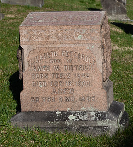 Elizabeth (Fetterolf) Dietrich, Feb 2, 1842 - Oct 16, 1900.   Wife of: James W. Dietrich, Nov 11, 1842 - Jul 15, 1900. Son of Benjamin Dietrich and Anna Willtrout.  Parents of Louisa E., Emma Elizabeth, Levi Franklin, Alice M., and Rosa Ellen Dietrich.