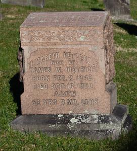 Elizabeth (Fetterolf) Dietrich, Feb 2, 1842 - Oct 16, 1900.   Wife of: James W. Dietrich, Nov 11, 1842 - Jul 15, 1900. Son of Benjamin Dietrich and Anna Willtrout.  Parents of Louisa E., Emma Elizabeth, Levi Franklin, Alice M., and Rosa Ellen Dietrich.
