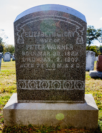 Elizabeth need Dry, wife of Peter Wanner, born March 30, 1827, died Jan 2, 1907, age 79...