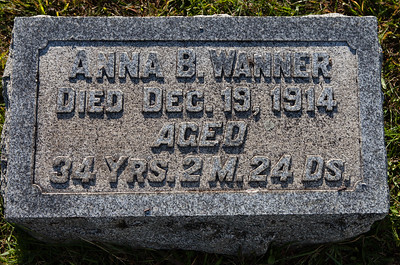 Anna B. Wanner, Died Dec 19, 1914, aged 34 yrs, 2 m 24 days.