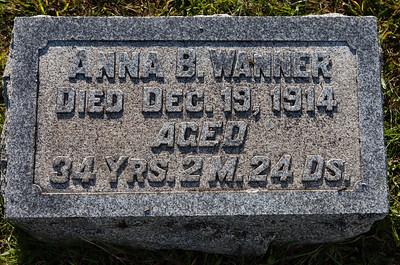 Anna B. Wanner, Died Dec 19, 1914, aged 34 yrs, 2 m 24 days.