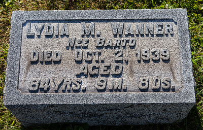 Lydia M. Wanner, need Barto, Died Oct 2, 1939, age 84 yrs, 9 m 8 days