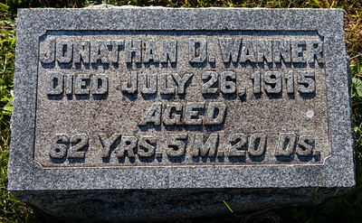 Jonathan D. Wanner, died July 26, 1915, aged 62 yrs, 5 m, 20 ds.