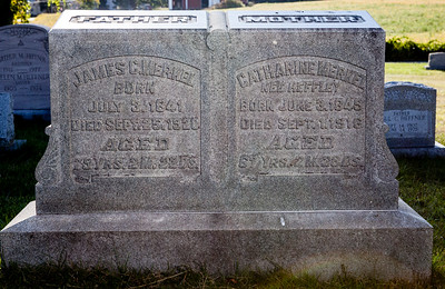 James C. Merkel, born July 3, 1841, died Sept 25, 1920, age 79.... Catharine Merkel, nee Heffley, born june 3, 1849, died Sept 1, 1916, age 67...