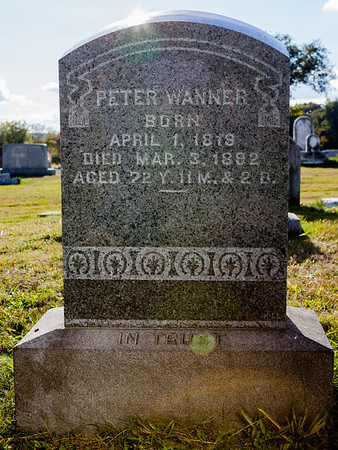 Peter Wanner, born April 1, 1819, died March 3, 1892, aged 72...