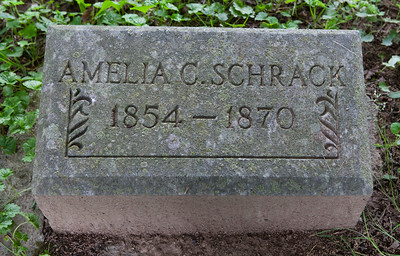 Amelia Catherine Schrack, 14 Apr 1854 - 18 Jan 1871, daugther of Jonathan and Esther (Moyer) Schrack.
