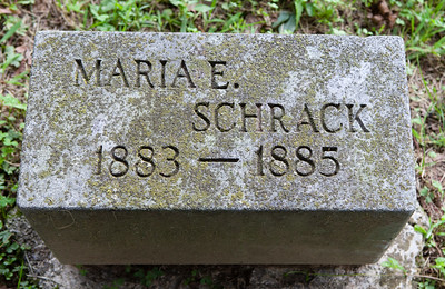 Maria E. Schrack, 17 Oct 1883 - 6 Jan 1885, daughter of Davilla and Malinda (Hiester) Schrack.