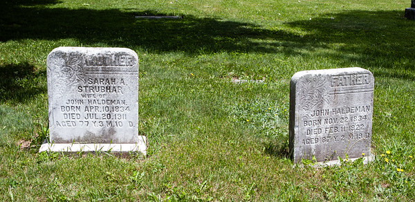 Left stone: Sarah A. Strubhar, wife of John Haldeman, April 10, 1834 - July 20, 1911. Right stone: John Haldeman, November  22, 1834 - February 11, 1922. Location: Family cemetery near Pine Grove, PA.