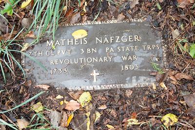 Matheis Nafzger memorial plaque. (Naftzinger family burial).