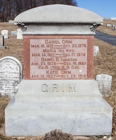 Husband: Daniel Grim, Mar 10, 1812 - Oct 23, 1876.  Wife: Maria Grim, Mar 14, 1815 - Dec 17, 1876.  Son: Daniel D. Grim, Aug 23, 1839 - Dec 18, 1865.  Katie Grim, Apr 19, 1827 - Oct 29, 1910.