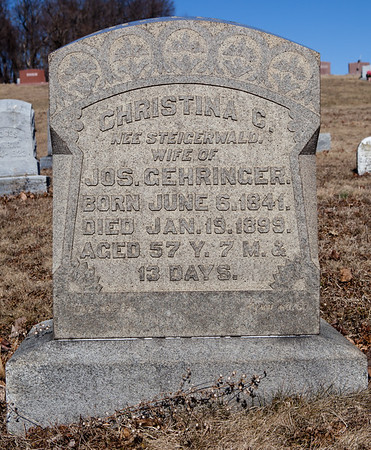Christina C. (Steigerwald) Gehringer, June 6, 1841 - Jan 19, 1899. Wife of Joseph Gehringer.