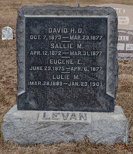 David H. D. Levan, Oct 7, 1873 - Mar 29, 1877.  Sallie M., Levan, Apr 12, 1872 - Mar 31, 1877.  Eugene E. Levan, June 29, 1875 - Apr 6, 1877.  Lulie M. Levan, Mar 28, 1889 - Jan 23, 1901.
