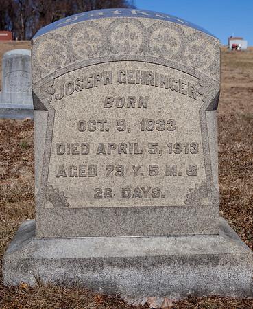 Joseph Gehringer, Oct 9, 1833 - Apr 5, 1913. Husband of Christina C. Steigerwald.