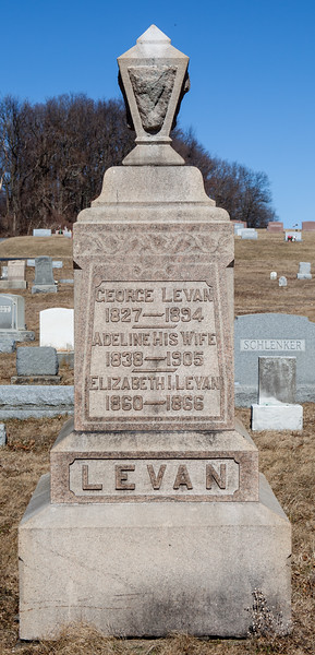 Father: George Levan, 1827 - 1894.  Mother: Adeline (Dornmoyer) Levan, 1838 - 1905.  Child: Elizabeth I. Levan, 1860 - 1866.  Their other daughter was Ella M. Levan, married Elwood Sunday. Parents of Earl William George Sunday.