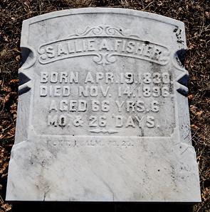 Sallie A. Fisher, Apr 19, 1830 - Nov 14, 1896.