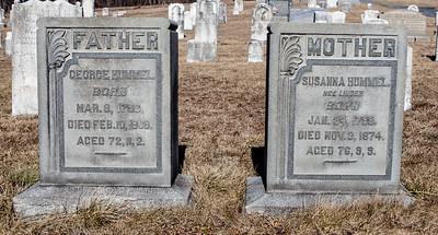 Father: George Hummel, Mar 8, 1796 - Feb 10, 1869.  Mother: Susanna (Linder) Hummel, Jan 24, 1798 - Nov 3, 1874.