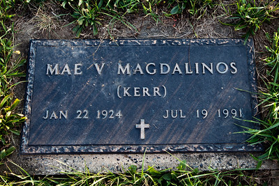 Mae V. (Kerr) Magdalinos, Jan 22, 1924 - July 19, 1991. Daughter of Mentill H. and Elverta J. (Snyder) Kerr.  Wife of: James D. Magdalinos, Sept 20, 1917 (Greece) - Apr 16, 1991 (Berks Co., PA, USA).