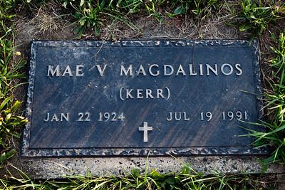 Mae V. (Kerr) Magdalinos, Jan 22, 1924 - July 19, 1991. Daughter of Mentill H. and Elverta J. (Snyder) Kerr.  Wife of: James D. Magdalinos, Sept 20, 1917 (Greece) - Apr 16, 1991 (Berks Co., PA, USA).