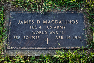 James D. Magdalinos, Sept 20, 1917 (Greece) - Apr 16, 1991 (Berks Co., PA, USA).  Husband of: Mae V. (Kerr) Magdalinos, Jan 22, 1924 - July 19, 1991.