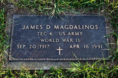 James D. Magdalinos, Sept 20, 1917 (Greece) - Apr 16, 1991 (Berks Co., PA, USA).  Husband of: Mae V. (Kerr) Magdalinos, Jan 22, 1924 - July 19, 1991.