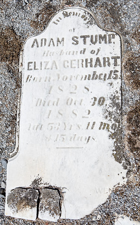 Adam Stump, husband of Eliza Gerhart, Nov. 15, 1828 - Oct. 30, 1882...
