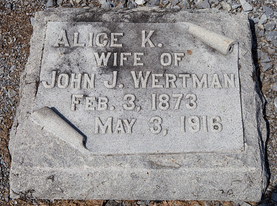Alice K. wife of John J. Wertman, Feb. 3, 1873 - May 3, 1916