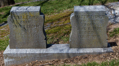 Peter L. Fisher, March 27, 1851 to Feb 13, 1937. Mattie Fisher, nee Stoudt, Nume 8, 1855 to Feb 17, 1910.