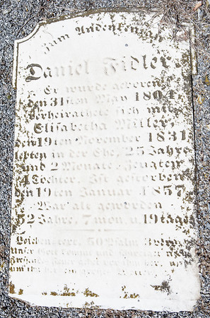 Daniel Fidler ... May 31, 1804 ... Elizabetha Miller ... November 19, 1831 ........ January 19, 1857....