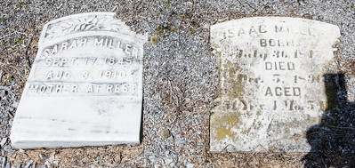Sarah Miller, Sept. 17, 1845 - Aug 3, 1910. Isaac Miller, July 30, 1815(?) - Decd 5, 1890.