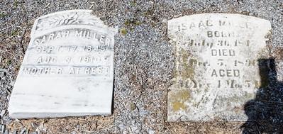 Sarah Miller, Sept. 17, 1845 - Aug 3, 1910. Isaac Miller, July 30, 1815(?) - Decd 5, 1890.